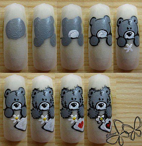 teddy bear nail art tutorial