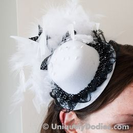 These gorgeous little hat are 5 inch diameter with about 3 inches of feathers.  You can easily put them...