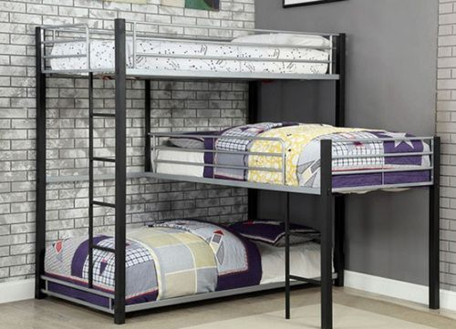 Gabriel Industrial Style Triple Decker Bunk Corner Bunk Beds Queen Bunk Beds Cool Bunk Beds