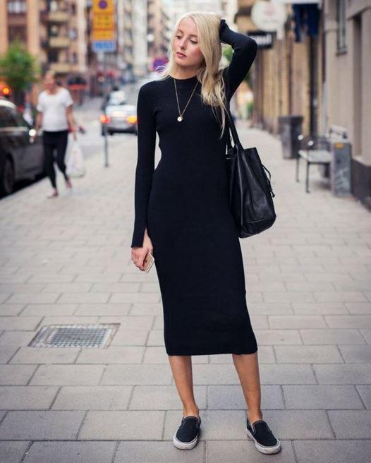 Siyah Triko Elbise Modeli Ve Kombin 2016 17 Siyah Elbiseler Moda Tarz Moda
