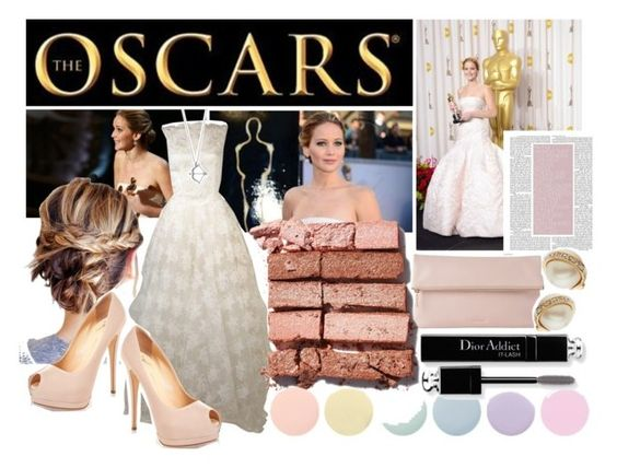 """oscars 2013: jennifer lawrence"" by pixiefashion ❤ liked on Polyvore featuring Whistles, Bobbi Brown Cosmetics, Deborah Lippmann, Christian Dior and Kate Spade"