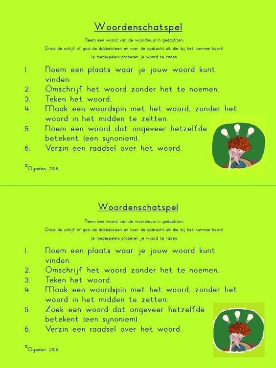 Woordenschatspel! Te spelen met een dobbelsteen of met het speciale Pim Pam…