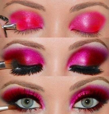 #maquillaje atrevido para la noche #makeup #rosa #fucsia