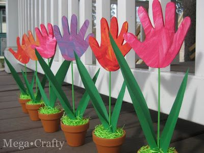 Handprint Tulips - great activity for toddlers with the help of an adult