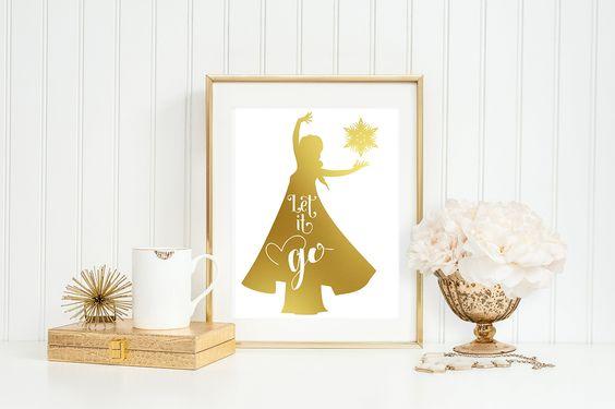 ELSA - LET IT GO- 8 x 10 print, gold foil, home decor, home
