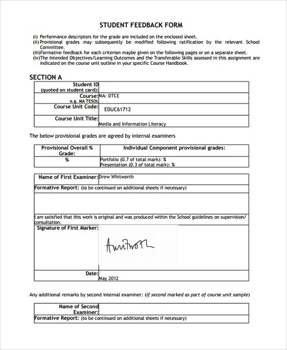 A Students Feedback Form Provides Information About A Studentu0027s Perception  Of A Particular Teacher Or A