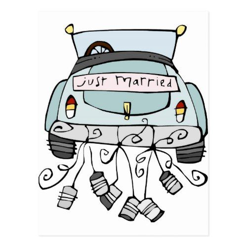 Just Married Car Dragging Cans Announcement Postcard Zazzle Com Just Married Car Just Married Wedding Gift Money
