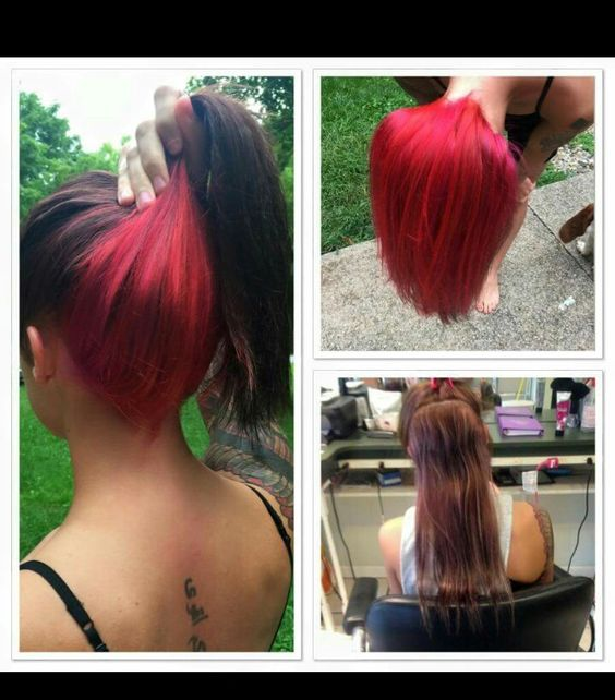 Brown hair with red underneath.