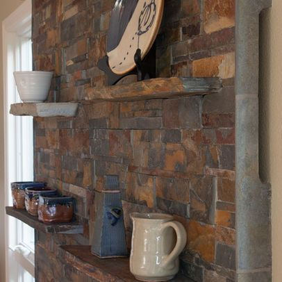 Shelves Slate Fireplace Surround And Kitchen Dining Rooms