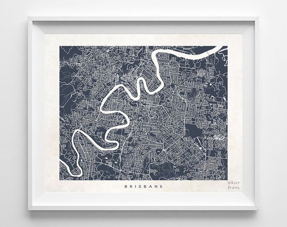 Brisbane Map Australia Print Australian Poster Street Map Map – Australia Street Map