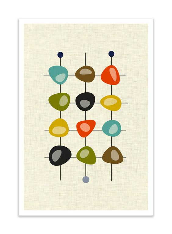 CLUSTER Giclee Print Mid Century Modern Danish Modern by Thedor