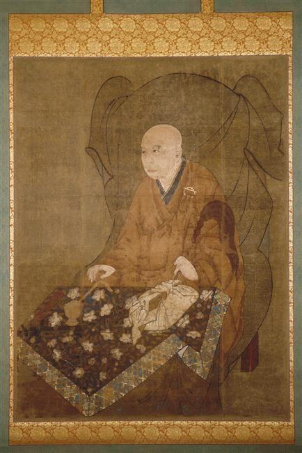 Portrait de Fuku Sanzo  Epoque de Kamakura XIII-XIV couleurs, encre, poudre d'or (kindei) sur soie