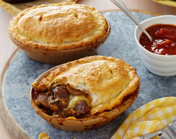 Steak, Cheese & Mushroom Pot Pies