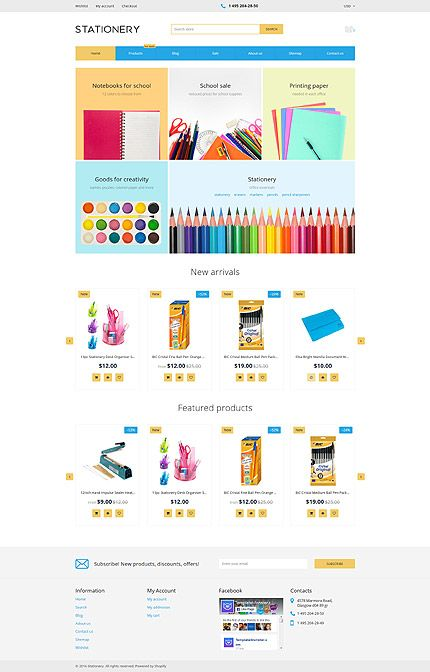 Stationery Online Store Shopify template themes business