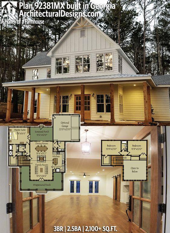 Plan 92381mx A Honey Of A Farmhouse Basement House Plans Modern Farmhouse Plans Dream House Plans