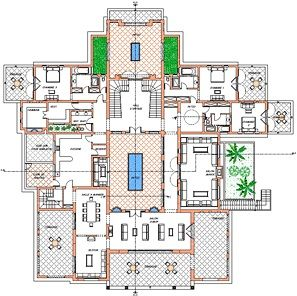 Plan of villa ground floor oasis bab atlas marrakech moroccan home style decor pinterest for Plan villa de luxe