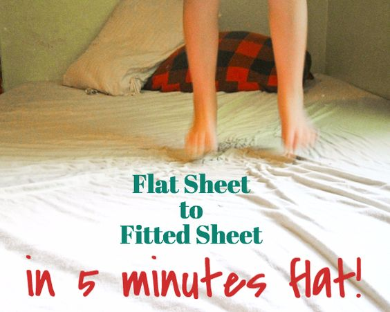 This is how I turn flat sheets (which we don't use) into fitted sheets (which we DO!).
