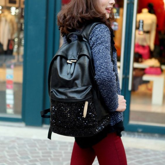Backpack style for women!! #backpack #style #black #leather #glitter