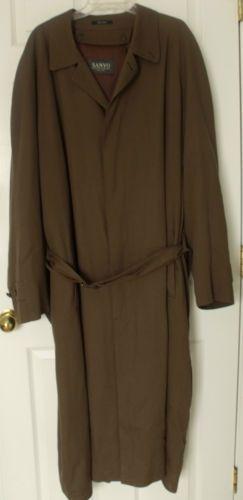 SANYO Brown Mens Overcoat Winter Trench Coat 48 XL Extra Long