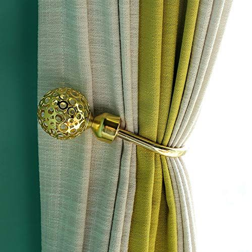 Yoedaf Hollow U Shaped Curtain Wall Hooks Retro Style Ball Curtain Tiebacks Metal Holdback Wall Hanger For Coat Hat C Metal Curtain Curtain Wall Hooks Curtains