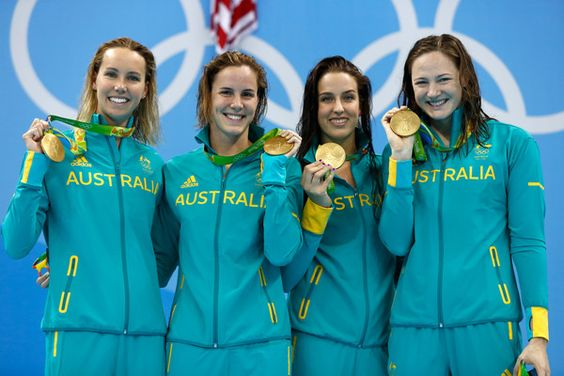 Cate Campbell Photos Photos - Gold medalist Emma McKeon, Brittany Elmslie, Bronte Campbell and Cate Campbell of Australia pose during the medal ceremony for the Final of the Women's 4 x 100m Freestyle Relay on Day 1 of the Rio 2016 Olympic Games at the Olympic Aquatics Stadium on August 6, 2016 in Rio de Janeiro, Brazil. - Swimming - Olympics: Day 1