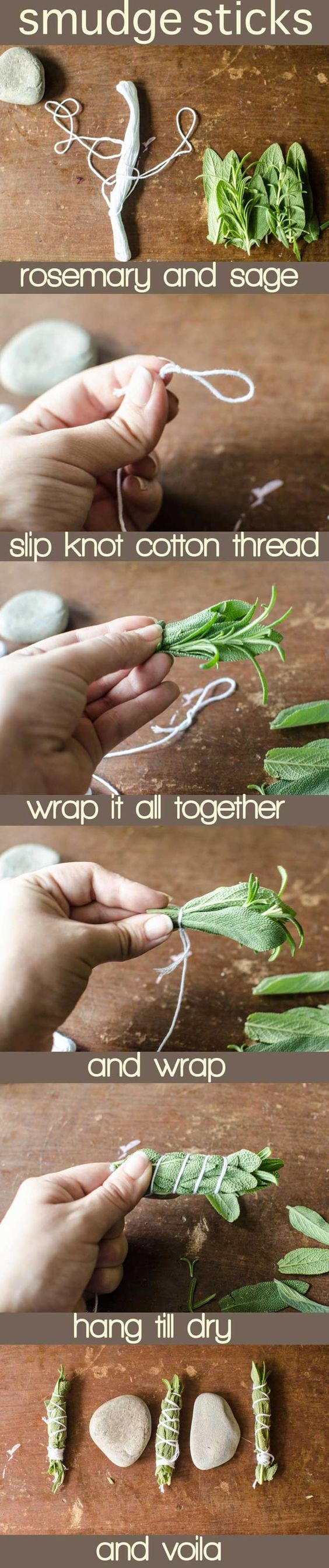 DIY sage bundles/ smudge sticks. Make several to give keep and use when you've had bad company or need to sage a new home.