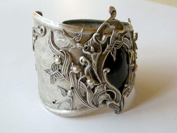 Floral Silver Cuff  Black Onyx Gemstone on Silver by LeBoudoirNoir, $190.00: