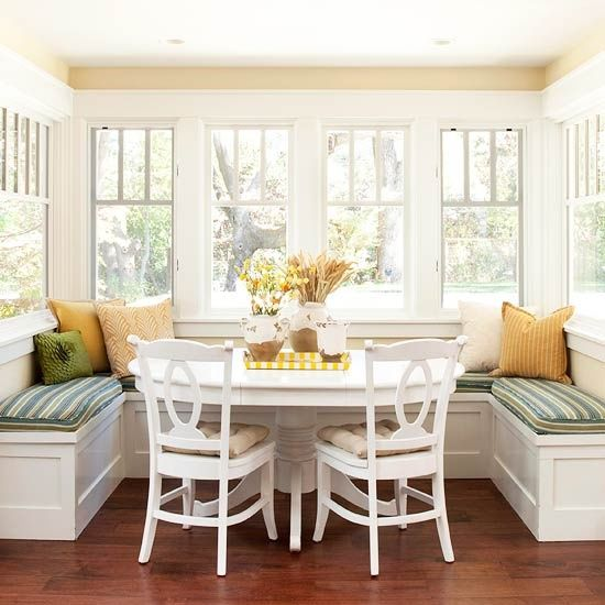 cheerful dining area with window seat...