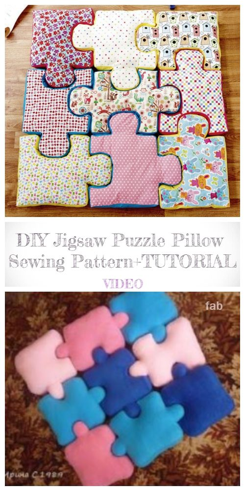 Diy Jigsaw Puzzle Pillow Free Sewing Pattern Video Puzzle Quilt Sewing Machine Quilting Sewing Pillows Ideas