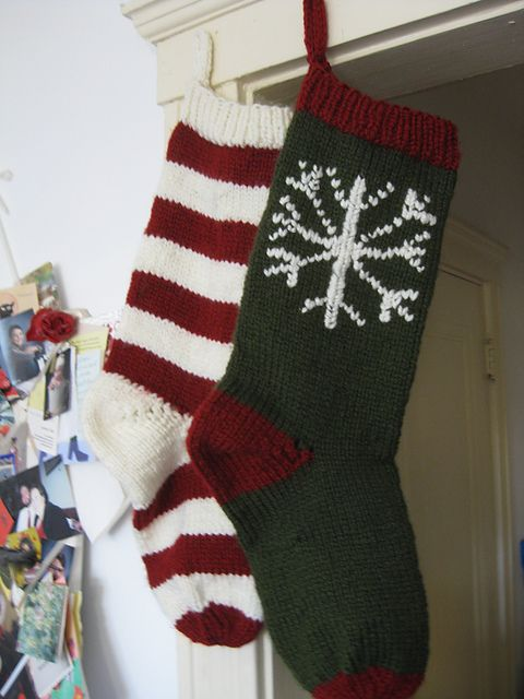 Knit Pattern For Striped Christmas Stocking : Ravelry: Striped Christmas Stocking pattern by Sarah E. White Getting Craft...