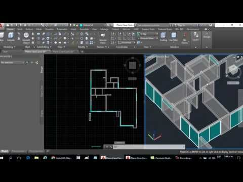 Curso Autocad 3d Dibujar Plano De Casa En 3d Parte 7 Dibujo De Mamparas De Vidrio Youtube Dibujos De Planos Autocad Planos Planos De Casas