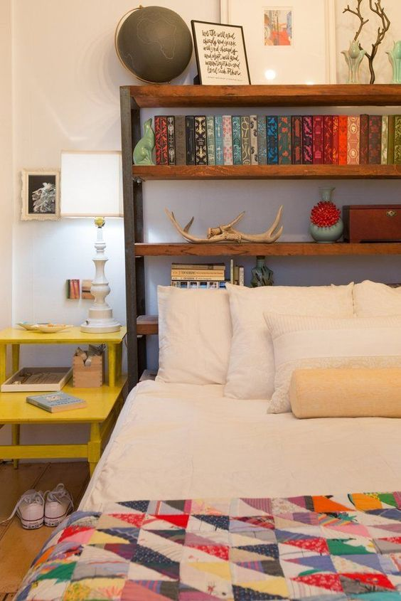 Place a bookshelf behind a bed instead of a headboard - What to use instead of a headboard ...