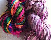 Sari silk ribbon, 200g, craft ribbon, funky combination, pure silk art yarn, eco friendly. Blossom and Multicoloured eyelash edged ribbon.