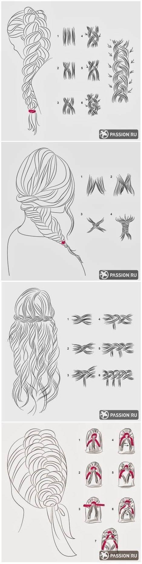 #coiffure - tuto desssin pour réaliser des tresses: