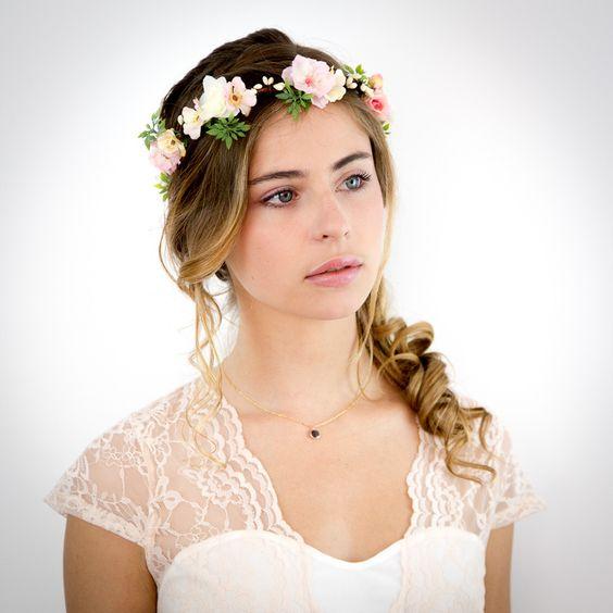 couronne de fleurs pche rose et ivoire appoline accessoire cheveux mariage accessoires - Accessoir Cheveux Mariage