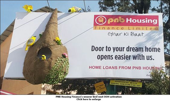 outdoor ads-PNB Housing Finance's weaver bird nest OOH activation-www.ifiweremarketing.com