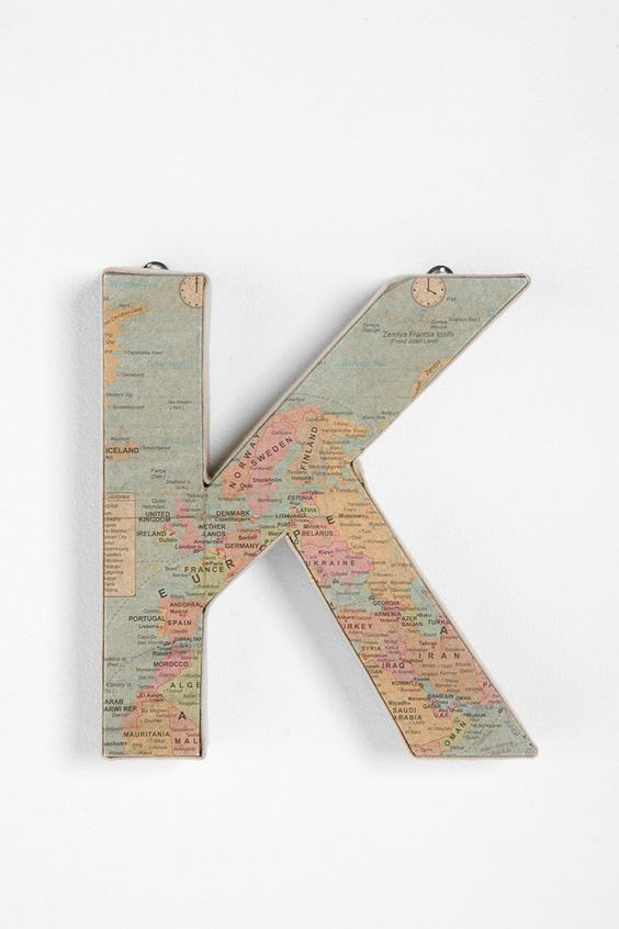 could totally make this yourself... modge podge maps onto the cheap cardboard letters from a craft store. doing this. $12:
