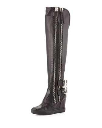 Double Zip & Buckle Knee-High Boot, Black by Giuseppe Zanotti at Neiman Marcus.