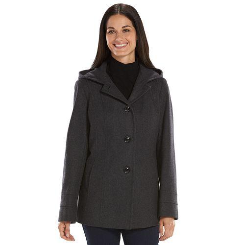 Women's Croft & Barrow® Hooded Wool-Blend Peacoat