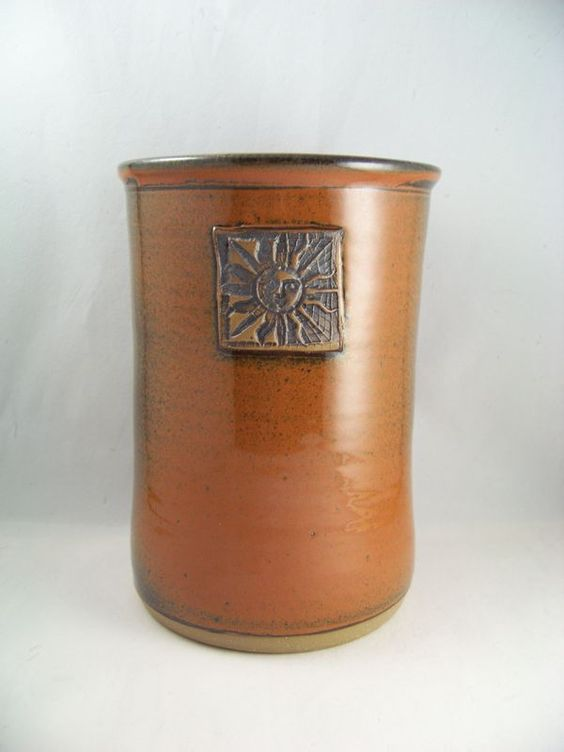 Stoneware Wine Chiller Utensil Holder with Sun Image in Red Orange