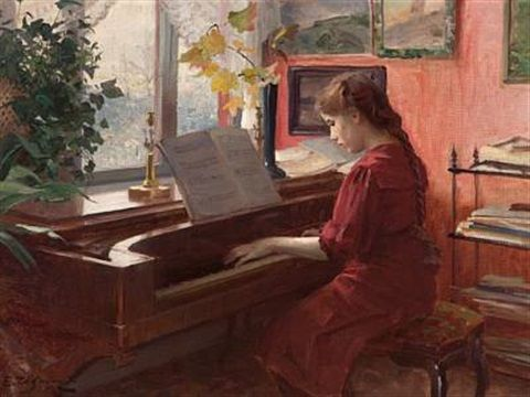 Ulving Even Christophersen 1863 1952 At The Piano Piano Art Historical Painting Art Reference Poses