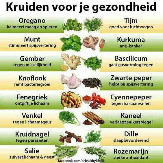 Kruiden voor je gezondheid kijk voor meer tips op onze facebookpagina of op onze website http://www.sportingclubdeuitweg.nl/: