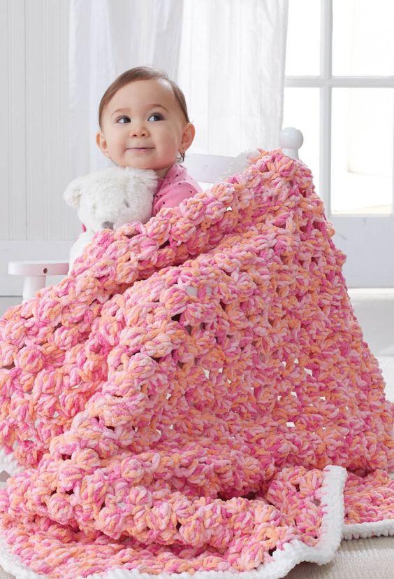 Baby Bobble Blanket   Crochet Baby Blanket for a girl   FREE Crochet ...