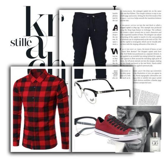 """Men's fashion"" by ernes-okanovic ❤ liked on Polyvore featuring Balmain, Persol, Giorgio Armani, Converse, men's fashion and menswear"
