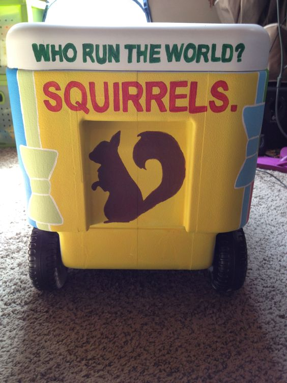 """Who run the World? Squirrels!"" Georgia Tech Alpha Gam cooler painting"