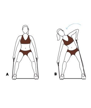 Move 6: Monkey (A) Stand on the center of the band with your feet parallel and wider than shoulder-width apart, knees soft, and handles in hands. (B) Bend your torso to the right while drawing your left elbow upward. Alternate sides briskly. Repeat 20 times. (And no cheating: Two sides equal one repetition!)