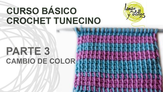 Curso Básico Crochet Tunecino: Parte 3 Cambio de color ✿⊱╮Teresa Restegui http://www.pinterest.com/teretegui/✿⊱╮