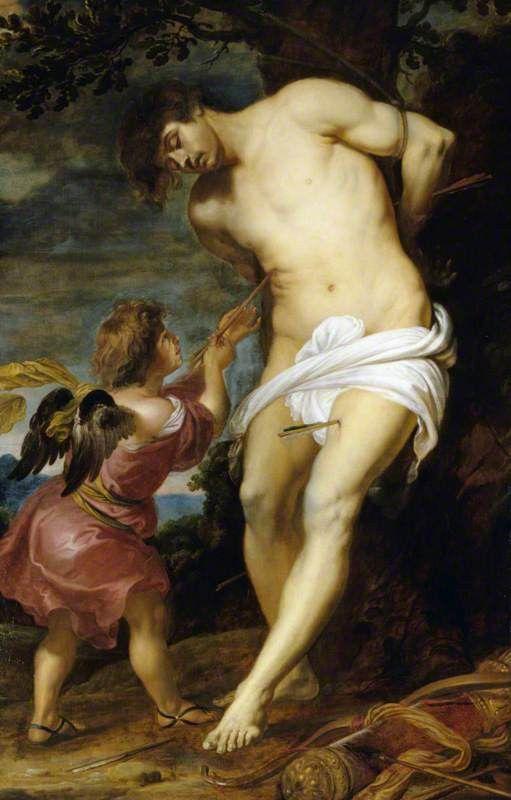 maertyrer:  Gerard SeghersSaint Sebastian comforted by an Angel c. 1630