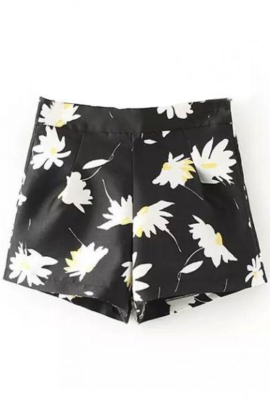 High Waist Sun Flower Print Wide Leg Zipper Shorts - Beautifulhalo.com