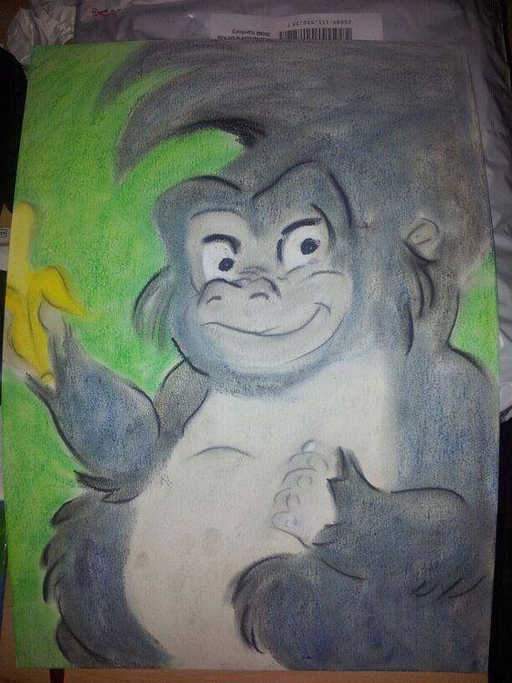 Affe von Tarzan gemalt mit Pastelkreide
